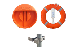 Lifebuoy, Line, Housing Cabinet and Rail Clamps -  Life buoy Set with Lifering, House,  Buoyant Line and Fixings for Railings  - SET 2B
