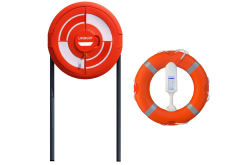 Lifebuoy, Line, Cabinet with Doors and GRP Poles  x 2 - Lifering Sub-Surface Housing Set for Concreting into Soft Ground - Tamper Seal included - Integrated SET 3C